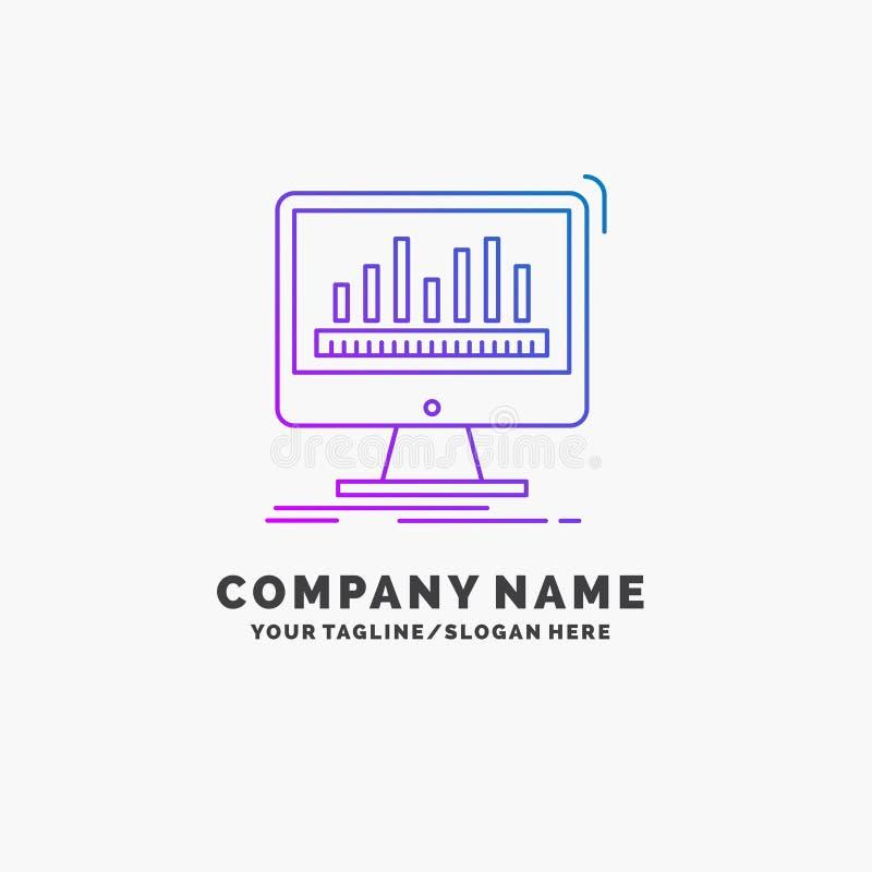 analytics, verwerking, dashboard, gegevens, stats Purpere Zaken Logo Template Plaats voor Tagline royalty-vrije illustratie