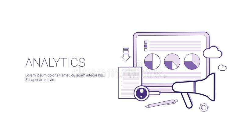 Analytics Website Search Information, Financial Business Analysis Concept Banner With Copy Space Thin Line. Vector Illustration stock illustration