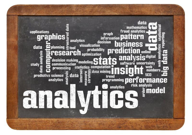 Analytics word cloud on blackboard stock image