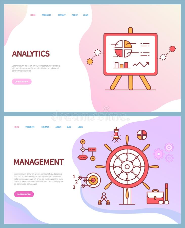 Analytics y gestión, páginas en línea del negocio ilustración del vector