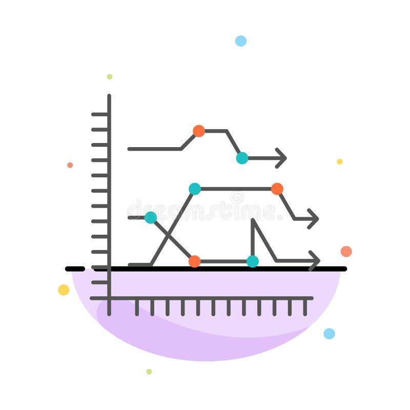Analytics, Zaken, Grafiek, Diagram, Grafiek, het Pictogrammalplaatje van de Tendensen Abstract Vlak Kleur vector illustratie