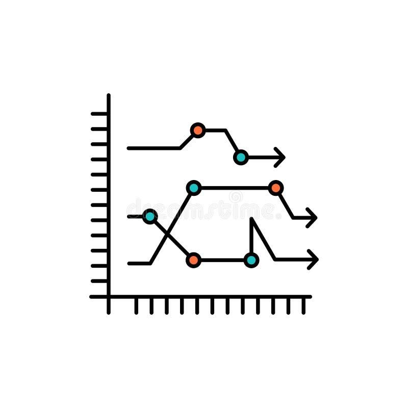 Analytics, Zaken, Grafiek, Diagram, Grafiek, Pictogram van de Tendensen het Vlakke Kleur Het vectormalplaatje van de pictogramban vector illustratie