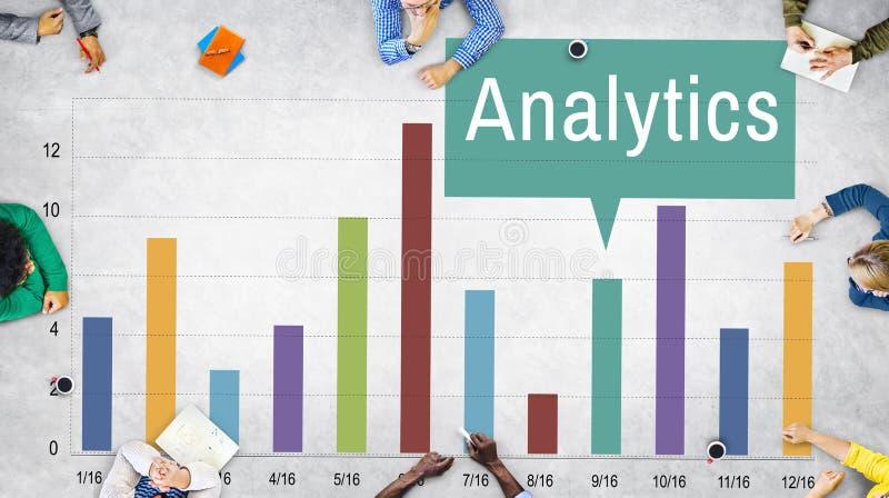 Analyticsanalysinblick förbinder databegrepp arkivfoton