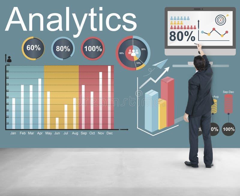 Analyticsdatastatistiken analyserar teknologibegrepp royaltyfria foton