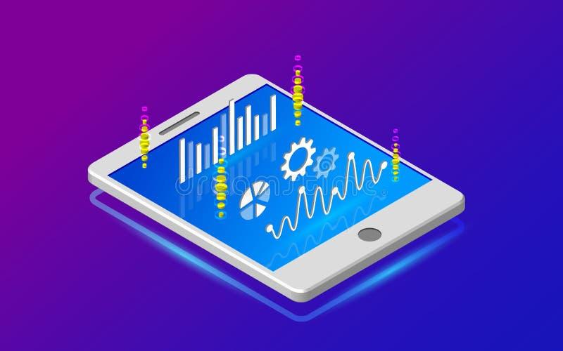 Analyticsinformatie over tablet De grote hulpmiddelen van de gegevensanalyse vector illustratie