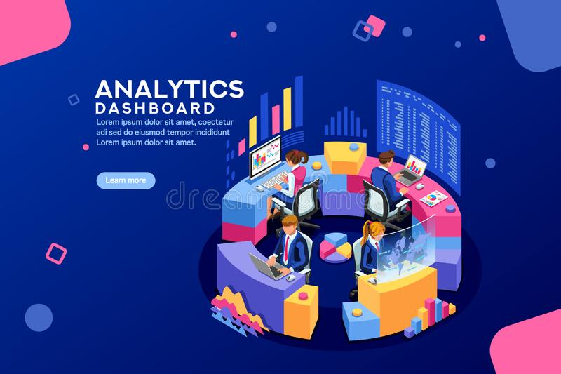 Analyticsinstrumentbrädaanalytiker Dashboard Financial Banner vektor illustrationer