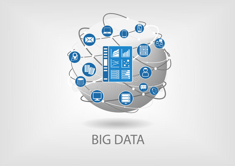 Analytik-Armaturenbrettillustration der großen Daten digitale stock abbildung