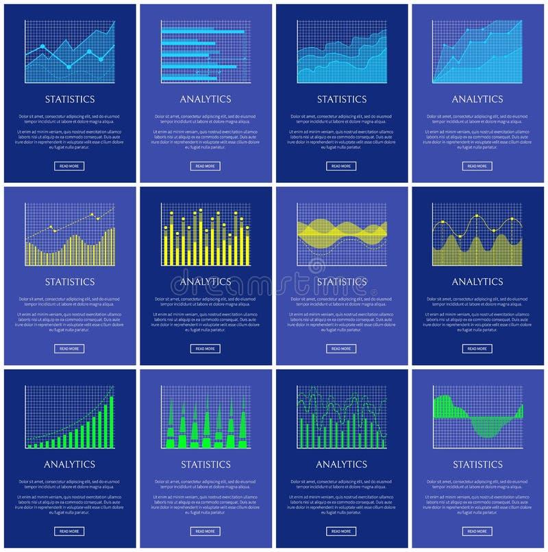 Analytik und Statistik-Diagramm-Vektor-Illustration stock abbildung