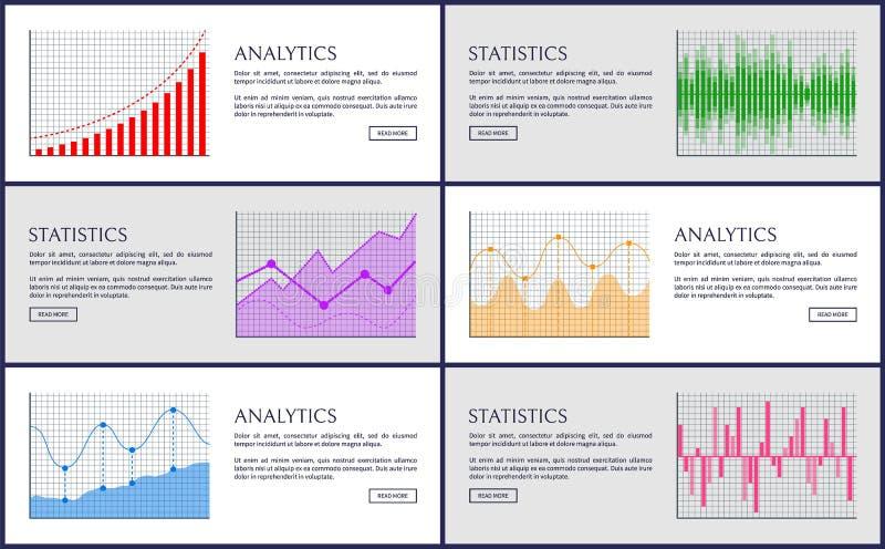 Analytik und Statistiken, Farbdiagramm-Sammlung lizenzfreie abbildung