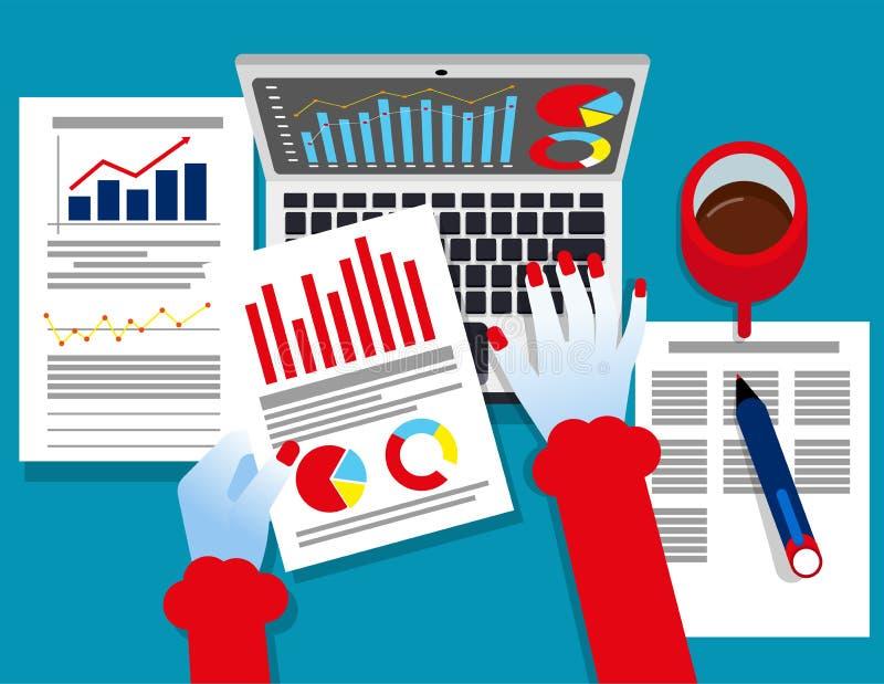 Analytiker Business Revisor som arbetar på pappers- dokument för statistiska data Illustration för begreppsaffärsvektor, rapport, stock illustrationer