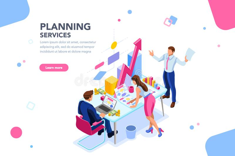 Analytiker-Planner Earning Financial-Fahne vektor abbildung