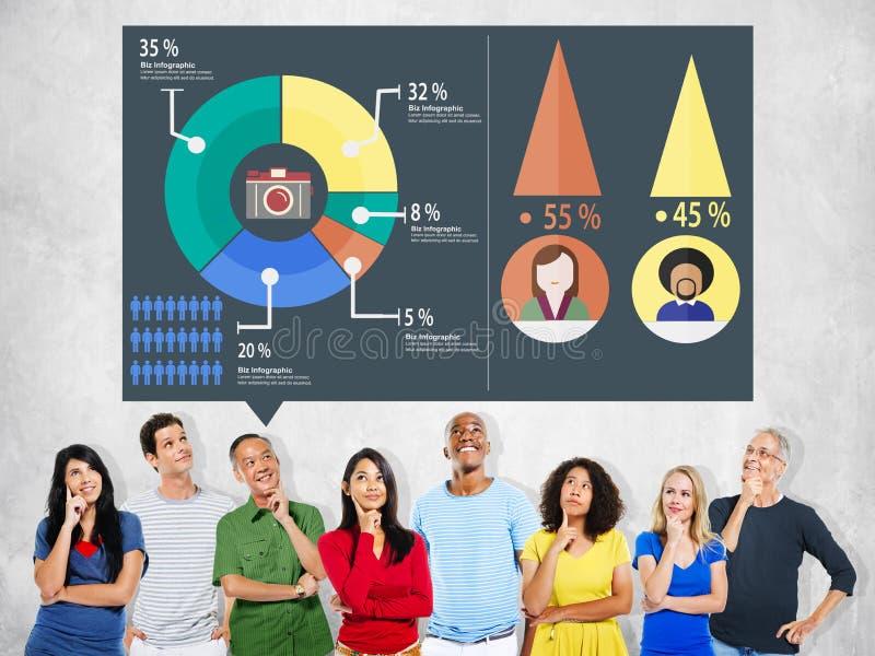 Analytisk marknadsföring för analys som delar grafdiagrambegrepp arkivfoto