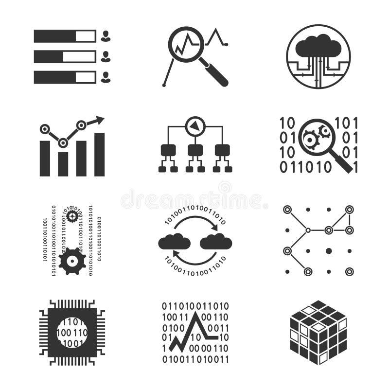 Analytiska kontursymboler för data stock illustrationer