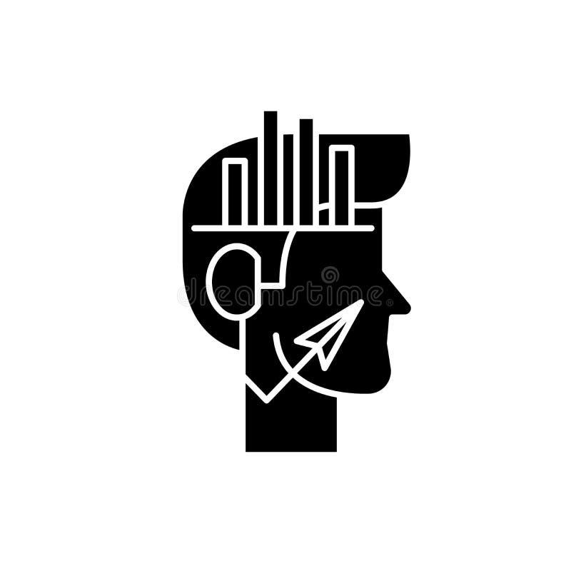 Analytiskt svart symbol för tänka, vektortecken på isolerad bakgrund Analytiskt begreppssymbol för tänka, illustration stock illustrationer