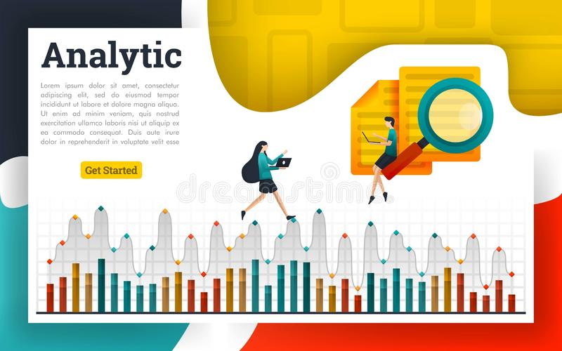 Analyze documents and explain on analytic charts. Can be use for landing page, web ui, banner, poster, template, flyer. can also be for various fields of stock illustration