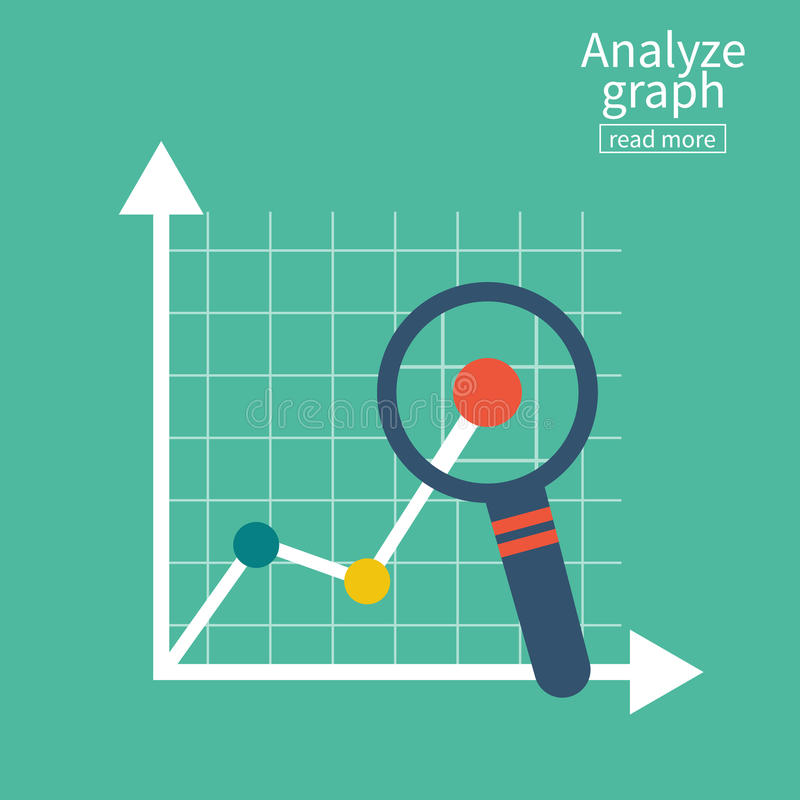 Analyze graph. Report growth. Magnifying glass showing rising bar chart statistics. Business concept. Vector illustration flat design. Isolated on white stock illustration