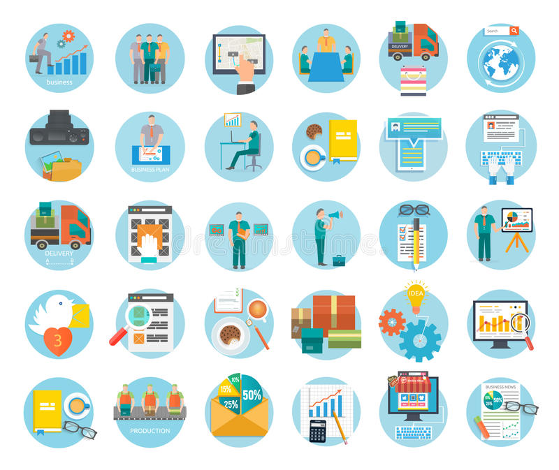 Analyze of internet shopping process and delivery. Analyze of internet shopping process of purchasing and delivery. Business online sale icons. Poster concept royalty free illustration
