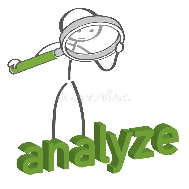 Analyze. Stick figure looking through magnifier vector illustration