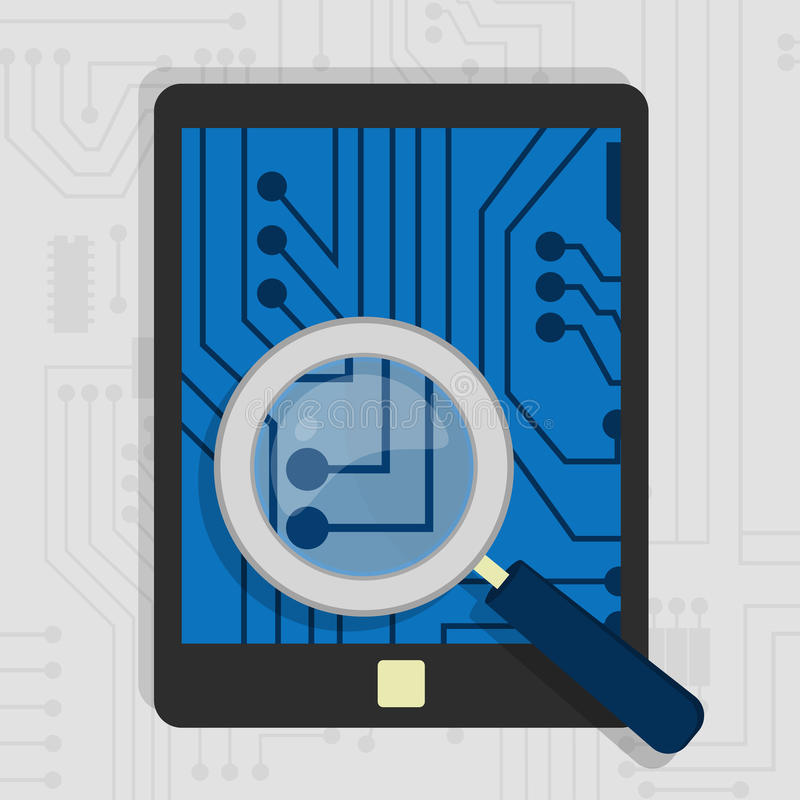 Analyzing the hardware of the tablet vector illustration