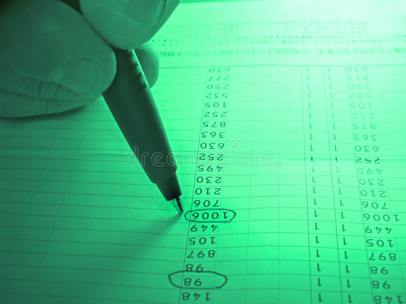 Analyzing a numbers column royalty free stock photo