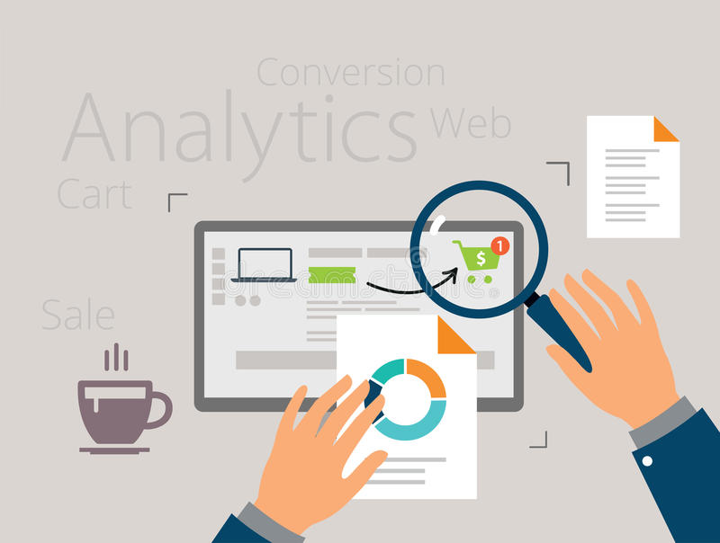 Analyzing the purchasing process royalty free illustration