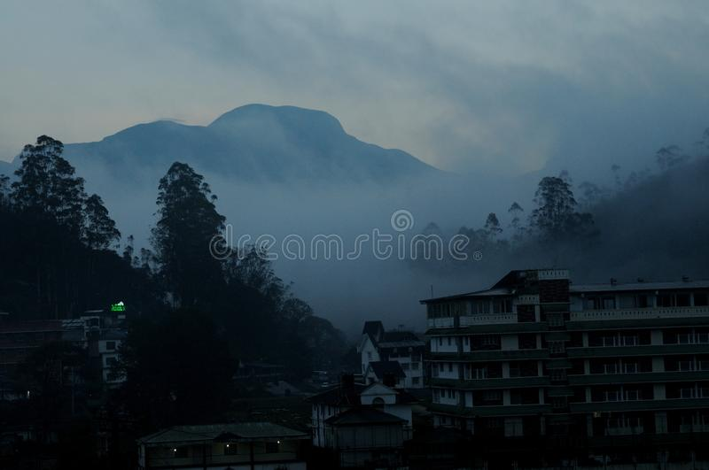Anamudi at dawn, the highest peak in South India at an elevation of 2,695 metres 8,842 ft in Munnar, Kerala State, India. Anamudi peak is one of only three ultra stock photo