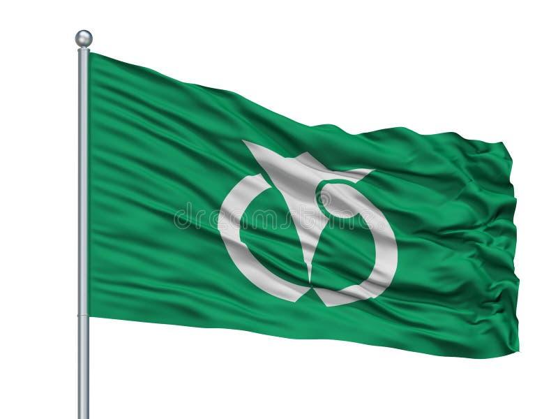 Anan City Flag On Flagpole, Japón, prefectura de Tokushima, aislada en el fondo blanco ilustración del vector