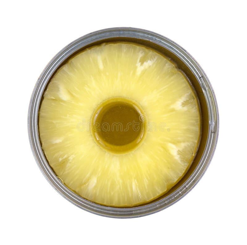 Ananasów plasterki w cynie obraz stock