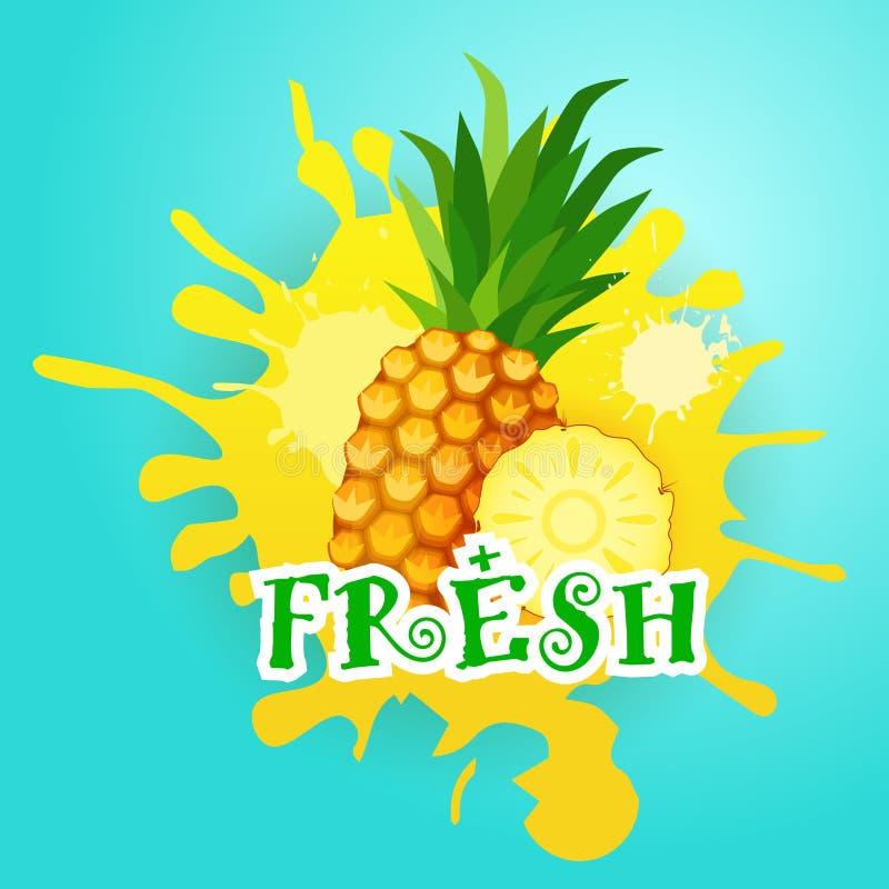 Ananas über Farben-Spritzen-Hintergrund frischer Juice Logo Natural Food Farm Products lizenzfreie abbildung