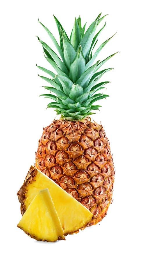 Ananas avec des tranches d'isolement photo libre de droits