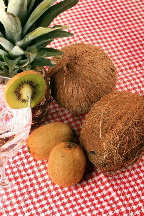 Ananas, cocos, kiwi en mineraalwater royalty-vrije stock foto's