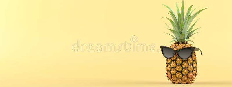 Ananas con gli occhiali da sole su un fondo giallo rappresentazione 3d illustrazione di stock