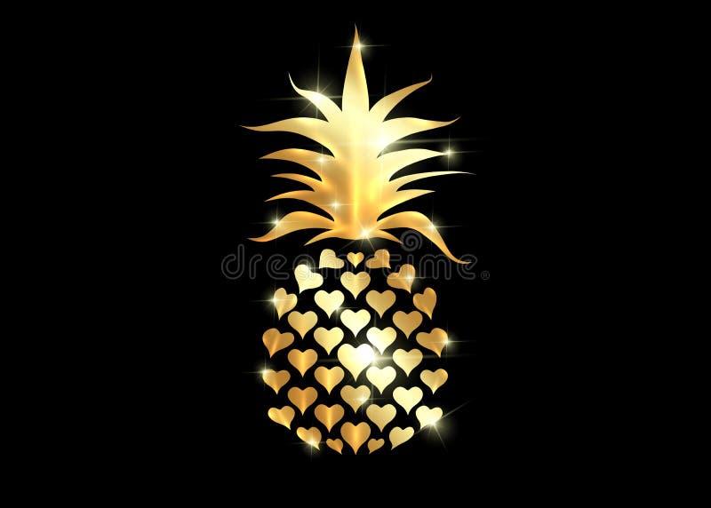 Ananas con l'icona di logo della foglia, progettazione di forma del cuore Frutta tropicale dorata isolata su fondo nero Simbolo d royalty illustrazione gratis