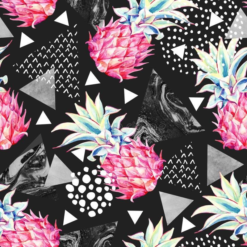Ananas d'aquarelle et modèle sans couture de triangles texturisées illustration libre de droits