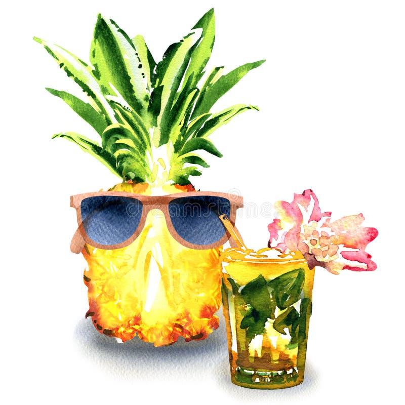 Ananas de fruit frais avec les lunettes de soleil et le cocktail de mojito avec la chaux, menthe, fleur rose dans isolé en verre, illustration de vecteur