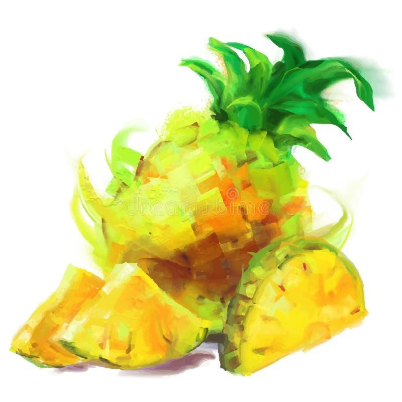 Ananas del disegno con una fetta royalty illustrazione gratis