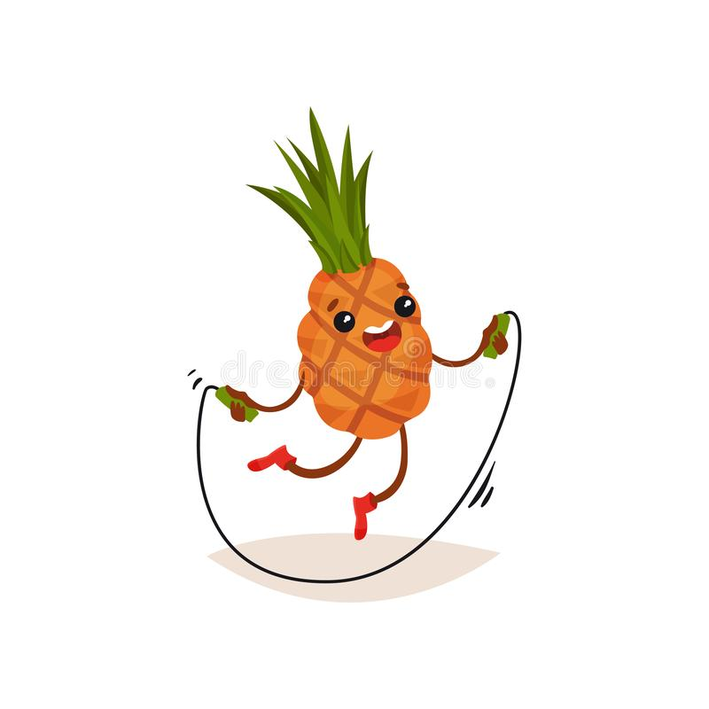 Ananas del fumetto che si esercita con la corda di salto Frutta umanizzata divertente con l'espressione felice del fronte Progett illustrazione vettoriale
