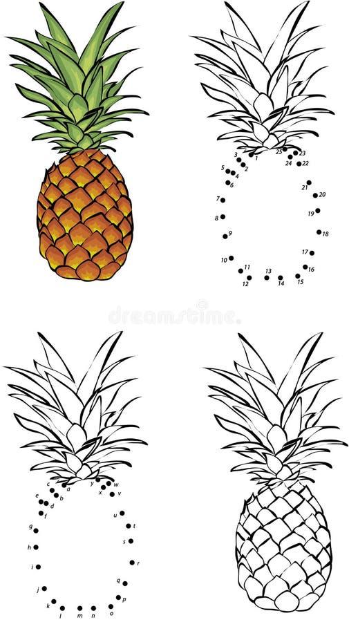 Ananas del fumetto Illustrazione di vettore Coloritura e punto da punteggiare illustrazione di stock