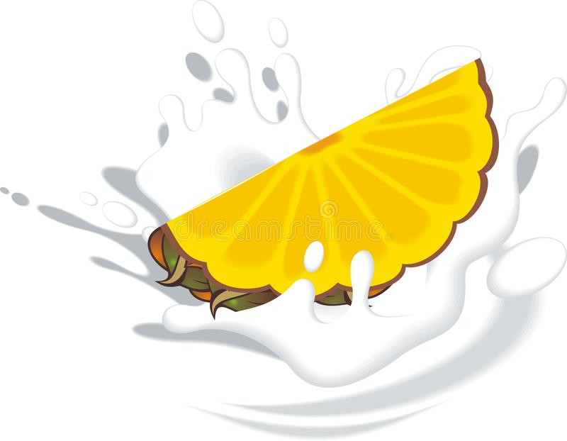 Ananas in der Milch stock abbildung