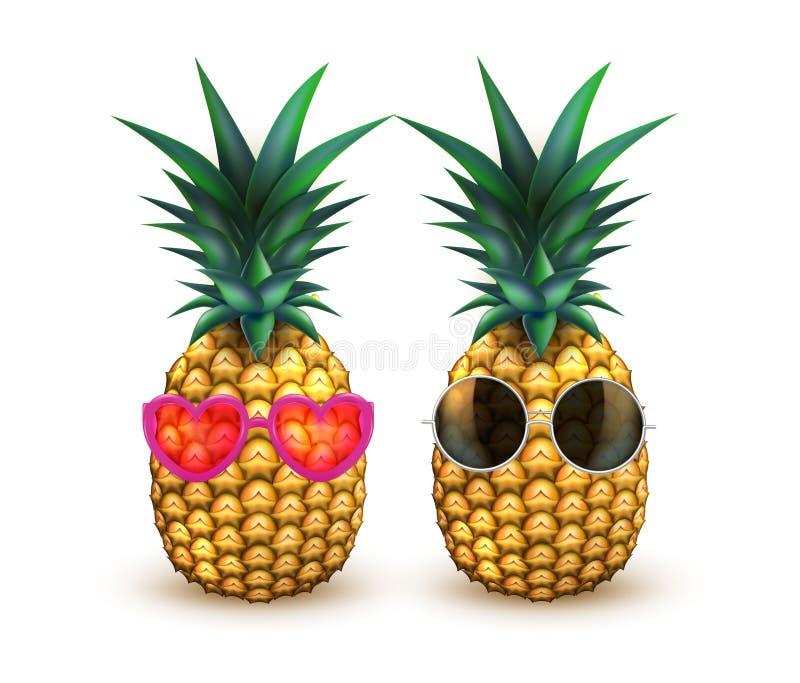 Ananas in der realistischen Sommerfrucht der Sonnenbrille vektor abbildung