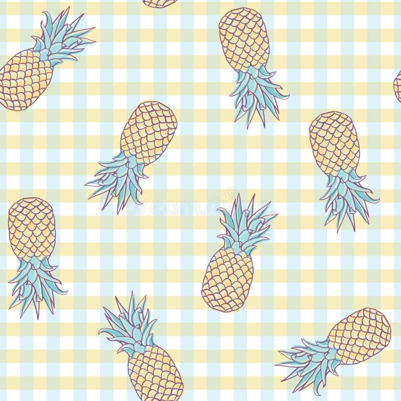 Ananas di picnic di vettore su progettazione senza cuciture del modello del plaid illustrazione di stock