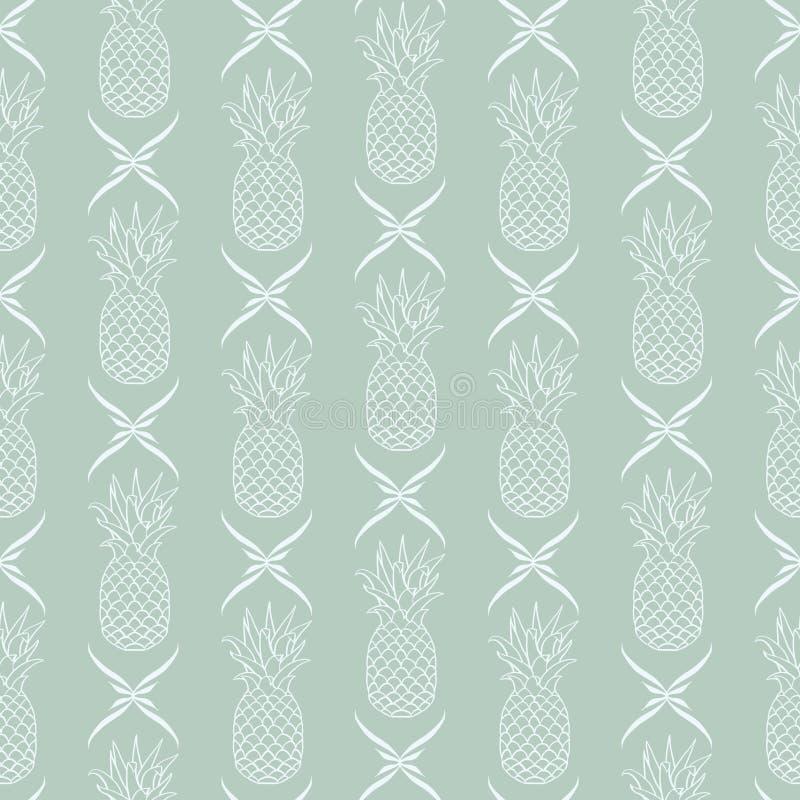 Ananas di vettore in conformità con il fondo senza cuciture del modello della decorazione floreale royalty illustrazione gratis