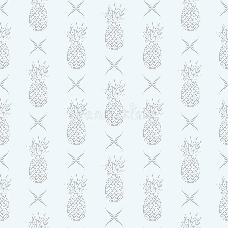 Ananas di vettore in conformità con la decorazione floreale sul fondo senza cuciture luminoso del modello illustrazione vettoriale