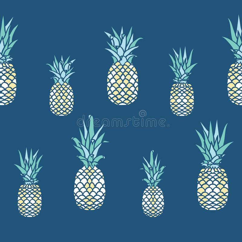 Ananas di vettore nella linea su progettazione senza cuciture del modello dei blu navy illustrazione vettoriale