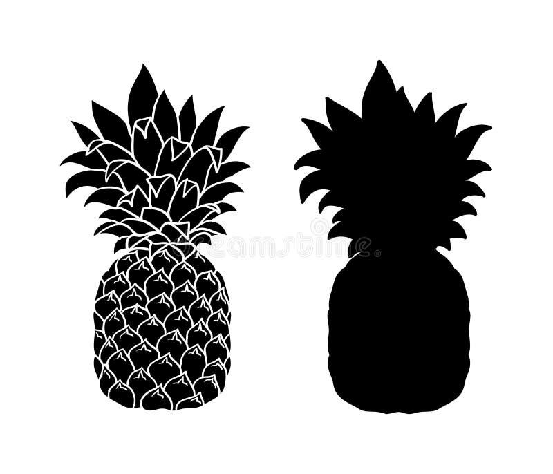 Ananas die op wit wordt geïsoleerdT Vectorananas, grafisch voorwerp, silhouet royalty-vrije illustratie