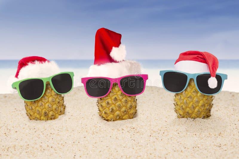 Ananas drei mit Sankt-Hut auf Strand stockbild
