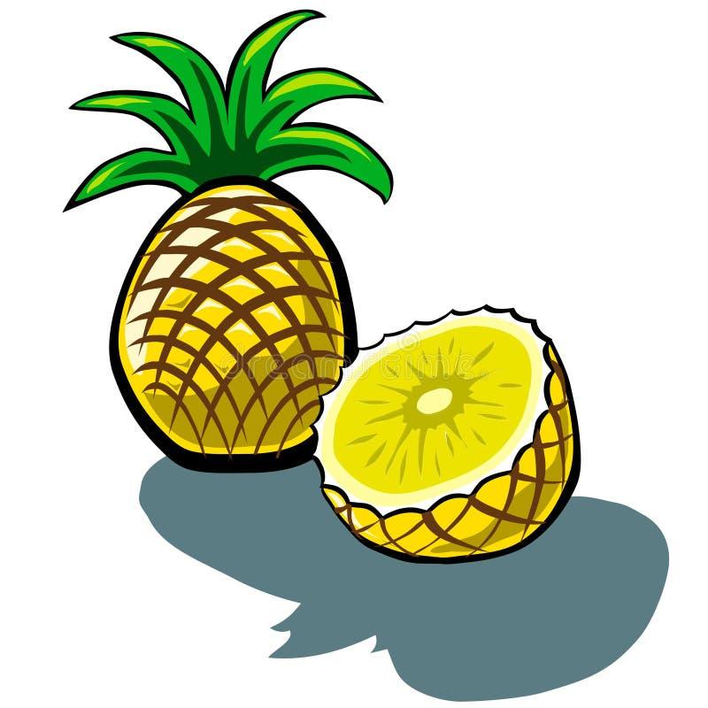 Ananas e fetta illustrazione di stock