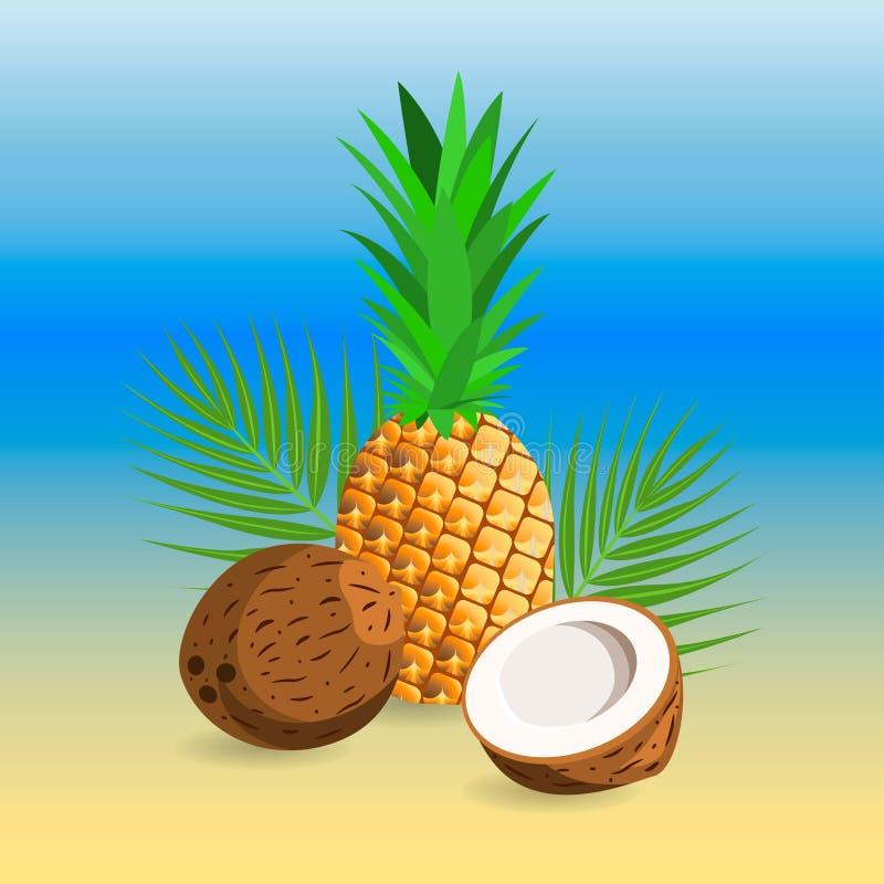 Ananas e noce di cocco maturi illustrazione vettoriale