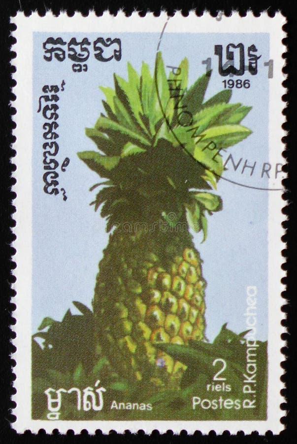 Ananas een reeks van beelden` Exotische vruchten ` circa 1986 stock foto