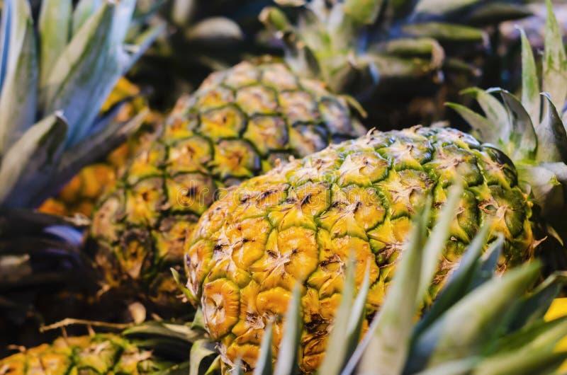 Ananas en vente au détail dans l'étagère de supermarché image libre de droits